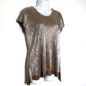Zara Metallic Gold Krinkle Short Sleeve Top